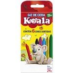Lápis de Cera Fino 06 Cores Koala Delta Pacote com 24