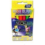 Lápis de Cera Fino Big Gis Neon Gliter 52g 6 Cores Acrilex Pacote com 06