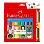 Lápis de Cor 24C+3 Caras&Cores Faber Castell ES PM
