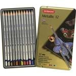 Lápis de Cor Aquarelável Metallic 12 Cores Estojo Lata 700456