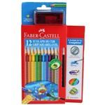 Lápis de Cor Ecolápis 12 Cores Grip Aquarelável Faber Castell + Apontador com Depósito + Pincel