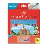 Lápis de Cor Sextavado Estojo com 24 Cores Mais Apontador Faber Castell