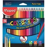 Lápis de Cor Triangular Color Peps 4 Mm 24 Cores Maped Pacote com 04