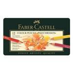 Lápis Polychromos Mina Permanente Faber-Castell - Estojo Metálico com 12 Cores - Ref 110012