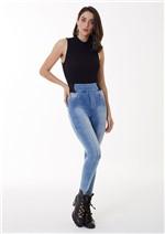 Legging Jeans Barra com Abertura