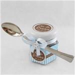 Lembrancinha Chá de Cozinha Pote Sextavado Azul com Marrom