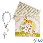 Lembrancinhas de Nascimento - Mini Terço + Cartão - 100 Unidades | SJO Artigos Religiosos