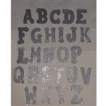 Letras de EVA Prata com Glitter Letra a