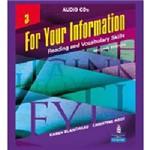 Livro - For Your Information 3 - Reading And Vocabulary Skills - Audio CDs