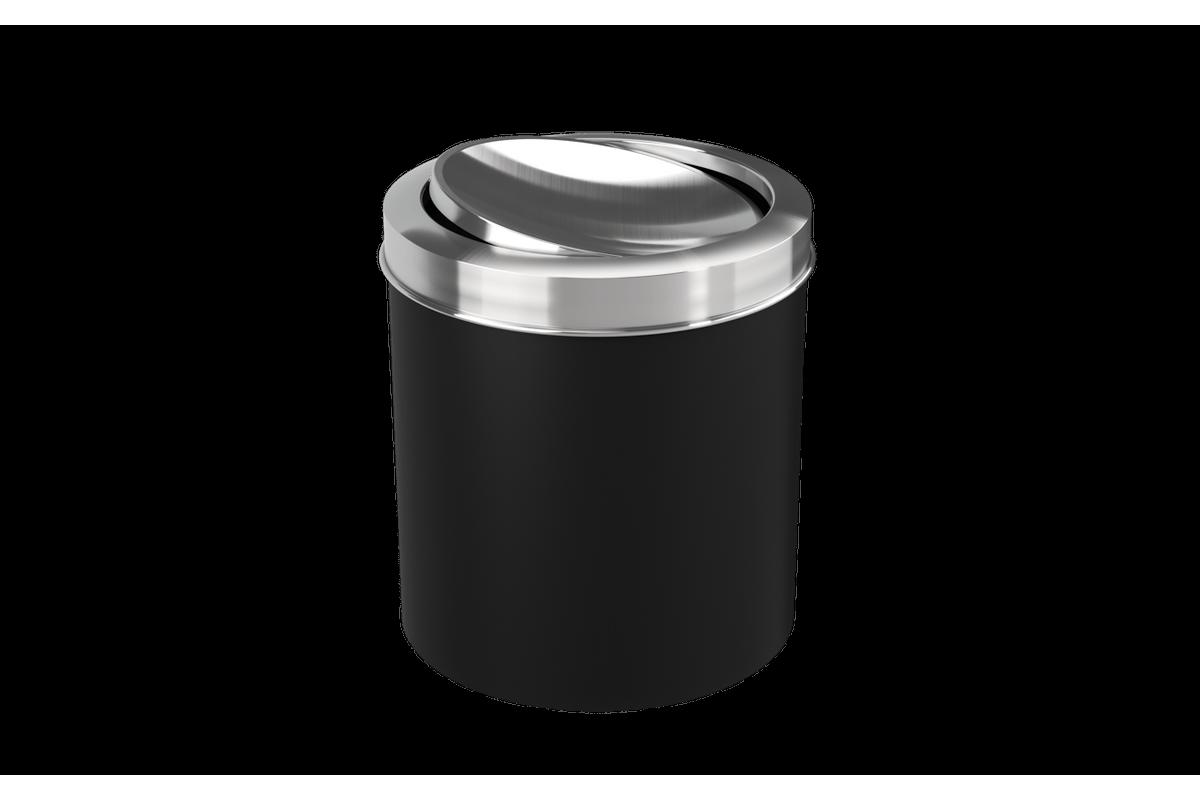 Lixeira com Tampa Basculante Inox 5,4L 19,5x20x22,4cm Preto Coza