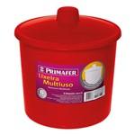 Lixeira Redonda Multiuso Vermelha 6L - Primafer