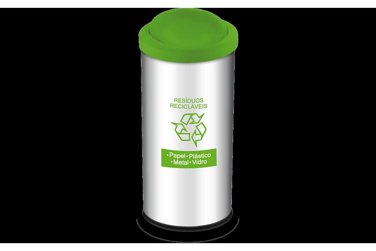 Lixeira Resíduos Recicláveis com Tampa Basculante e Adesivo Verde 40,5 Litros - Decorline Lixeiras Ø 30 X 60 Cm - Brinox