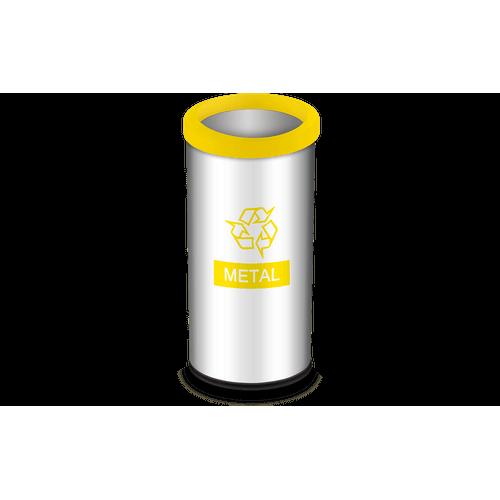 Lixeira Seletiva com Aro e Adesivo Amarelo 40,5 Litros - Decorline Lixeiras Ø 30 X 60 Cm