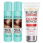 L'Oréal Paris Magic Retouch + Ganhe Cicatri Renov Kit - Leave-In + 2 Corretivos Capilar Castanho Claro Kit