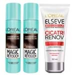 L'Oréal Paris Magic Retouch + Ganhe Cicatri Renov Kit - Leave-In + 2 Corretivos Capilar Castanho Escuro Kit