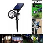 Luminária Solar de Jardim e Parede Spot Holofote 4 Leds 7w