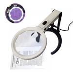 Lupa de Bancada 12 LEDs Articulável 138mm Bivolt ou a Pilha