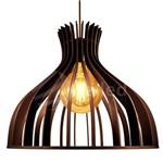 Lustre Luminária Pendente de Madeira C/ Soquete E-27 40x35cm Zodíaco Tom Café + Lâmpada Vintage Led G125