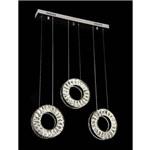 Lustre Pendente Led Cristal K9 3 Anéis com Controle Remoto - Israel - Ref.7270-10af