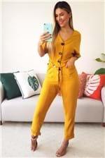 Macacão Babadotop com Bolsos e Detalhe Trança Thirry - Amarelo