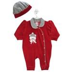 Macacão Bebê Feminino Longo Plush Boina Vermelha e Pied de Poule-M