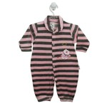 Macacão Bebê Feminino Longo Plush Listrado Rosa e Mescla Ursinha-G