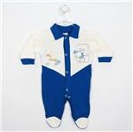 Macacão Bebê Masculino Longo Suedine Azul Royal e Creme-RN