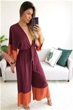 Macacão Dress To Bicolor com Top - Vinho