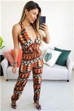 Macacão Dress To Estampa Maras com Amarração - Laranja
