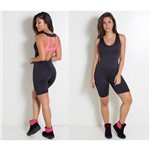 Macacão Feminino Rosa Pink e Preto Macaquinho Ginastica Academia Fitness Crossfit Exercício