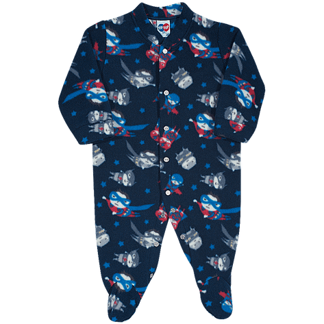 Macacão Pijama de Soft Mini Heróis EG