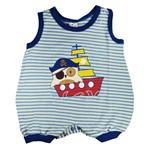 Macacão Regata Menino Azul - Coruja Pirata - Bloomy S Baby P
