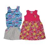 Macaquinho e Vestido Infantil Kit com 2 Unidades Azul Turquesa e Pink-4