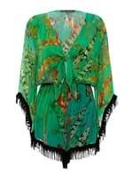 Macaquinho Franjas Koi de Seda Estampada Verde Tamanho 36