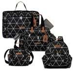 Mala Maternidade Vintage + Bolsa Everyday + Frasqueira Térmica Emy + Mochila Noah Manhattan Preta - Masterbag