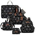 Mala Maternidade Vintage + Bolsa Everyday + Frasqueira Térmica Emy + Mochila Noah + Necessaire Manhattan Preta - Masterbag