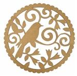 Mandala Pássaro e Arabesco em MDF 25x25cm - Palácio da Arte
