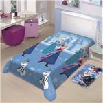 Manta Infantil Frozen Neve Disney Soft Poliéster Microfibra Jolitex 1,50mx2,00m Azul