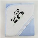 Manta Masculina Soft Azul Clara e Branca Bordada Panda