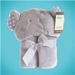 Manta Microfibra Infantil com Capuz Elefantinho Cinza 75 Cm X 100 Cm Baby Joy