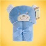 Manta Microfibra Infantil com Capuz Ursinho Azul 70 Cm X 100 Cm Baby Joy