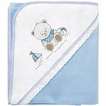 Manta Soft Lisa Bambi Bordados Ursinho Azul 90x90cm - Incomfral