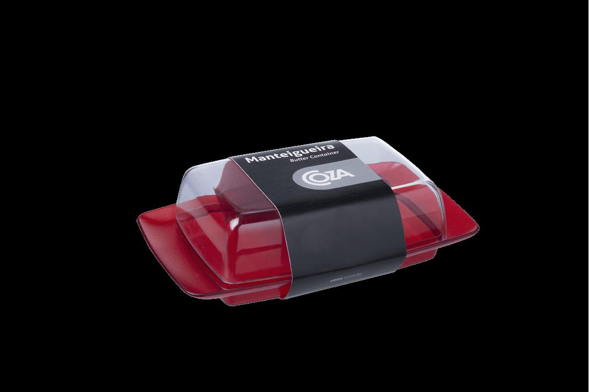 Manteigueira 18,4 X 11,5 X 5,2 Cm Vermelho Transparente Coza
