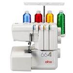 Máquina de Costura Overlock Doméstica 664, 3/4 Fios, 1300ppm, Corte de Linha Integrado - Elna
