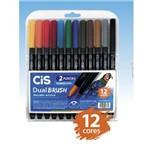 Marcador Artístico Aquarelável Dual Brush - Cis - 12 Cores