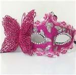 Máscara de Carnaval com Borboleta Rosa - Unidade