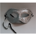 Máscara de Carnaval com Glitter Prata - Unidade