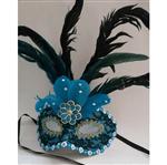 Máscara de Carnaval com Pena Azul - Unidade