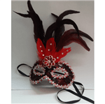 Máscara de Carnaval com Pena Vermelha - Unidade