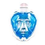 Máscara de Mergulho Mormaii Full Face para Snorkeling Odyssey / Azul-Transparente / P